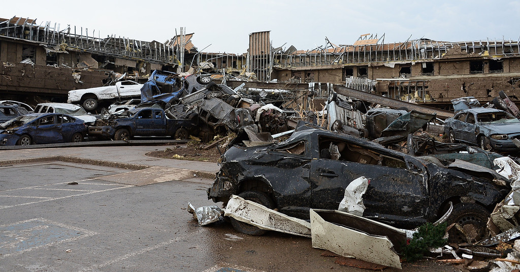 . Dozen of cars on top of each other at the Moore hospital parking lot after a tornado struck Moore, Oklahoma, near Oklahoma City, May 20, 2013.  