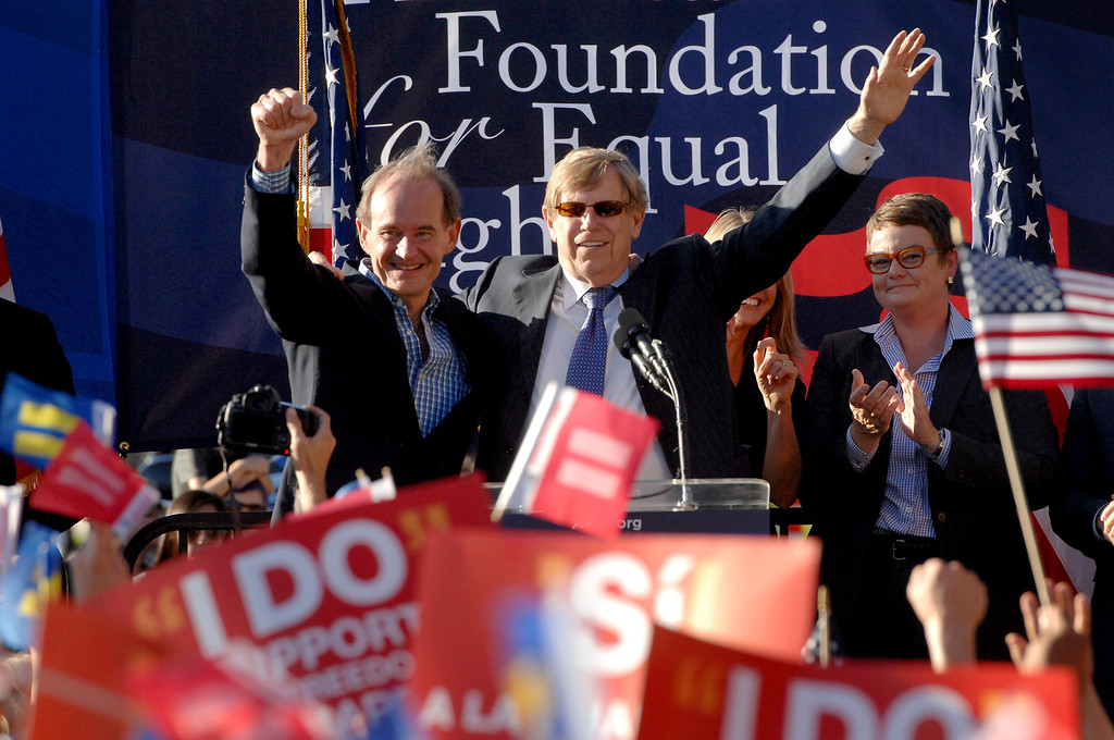 . Plaintiffs� lead co-counsels in the Prop 8 case, David Boies, left, and Ted Olson are cheered at a rally in West Hollywood to celebrate the U.S. Supreme Court\'s ruling that killed Prop 8, Wednesday, June 26, 2013. (Michael Owen Baker/L.A. Daily News)