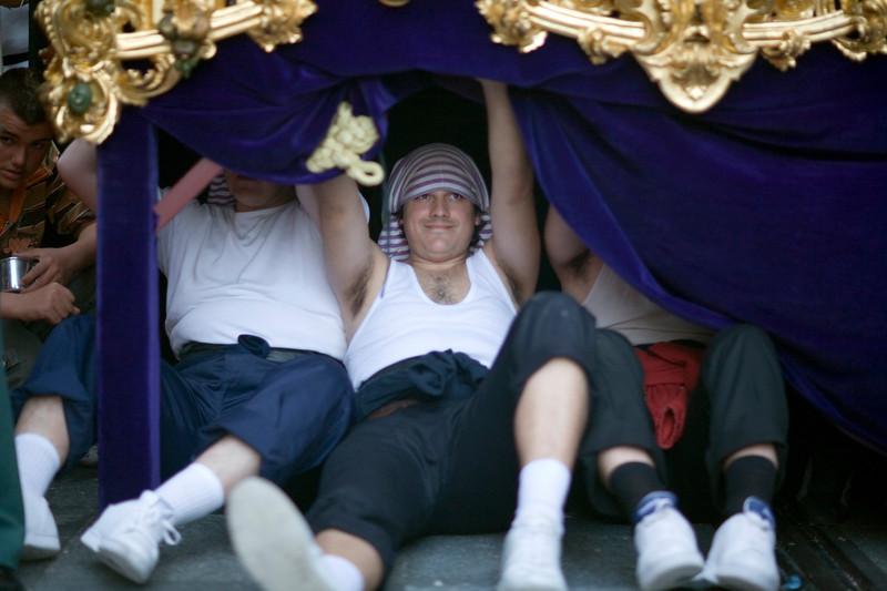 Costaleros or float bearers during a break