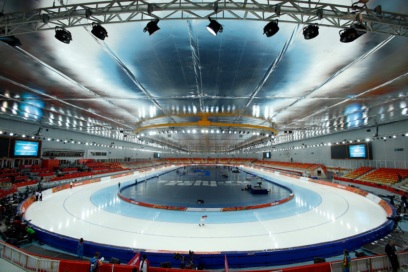 . A Russian skater trains at the Adler Arena Skating Center during the 2014 Winter Olympics, Tuesday, Feb. 11, 2014, in Sochi, Russia. (AP Photo/Pavel Golovkin)