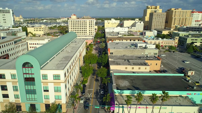Aerial footage Downtown West Palm Beach Clematis Street