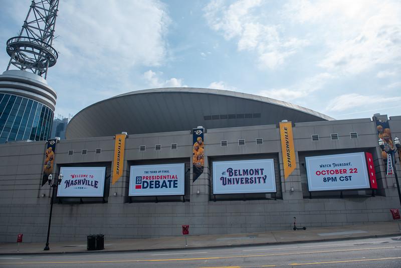 Debate 2020 banners in downtown Nashville
