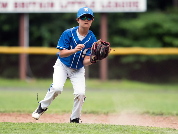 07/30/18 Wesley Bunnell | Staff The Southington Travel Knights 12U baseball was defeated 10-0 by the Catalyst Bombers at A.W. Stanley Park on Monday evening in Nutmeg Games action. Short stop jack Kushman (65).