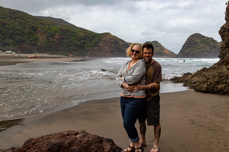 Both of us at Piha