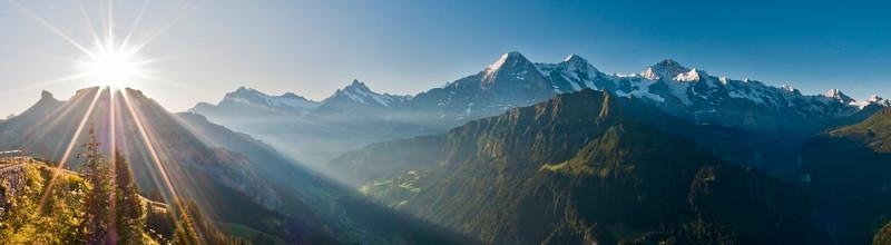 Swiss mountain panorama with Eiger, Mönch und Jungfrau