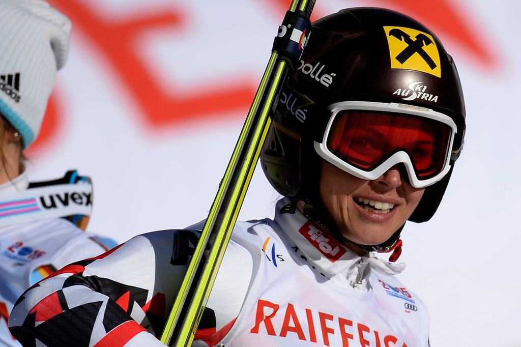 . BEAVER CREEK, CO - FEBRUARY 12: Anna Fenninger of Austria celebrates her win during the ladies\' giant slalom. FIS Alpine World Ski Championships 2015 on Thursday, February 12, 2015. (Photo by AAron Ontiveroz/The Denver Post)