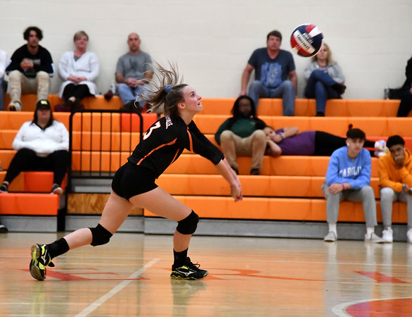 10/18/2019 Mike Orazzi | Staff Terryville's Abi DellaVecchia (3) during Friday night's girls volleyball match with Goodwin Tech in Terryville.
