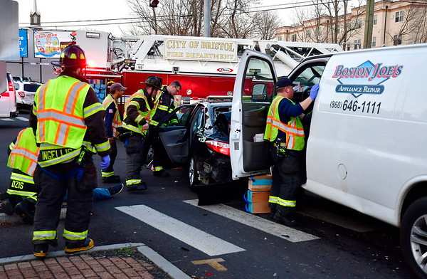 1/15/2020 Mike Orazzi | Staff The scene of a three-vehicle crash at the intersection of West and School Streets in Bristol. At least one person was transported from the scene.