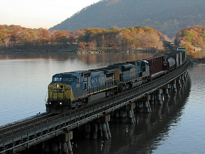 CSX freight train crosses Iona Island at Bear Mountain, New York
