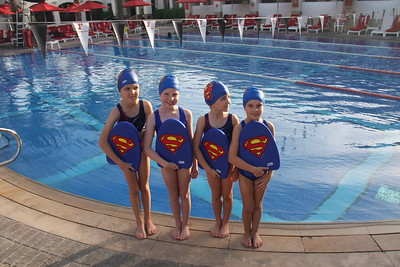 Superheros poolside