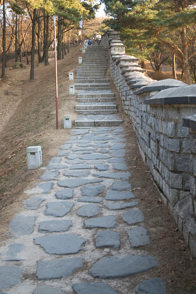 Stone path and stairs at Hwaseong Fortress - South Korea