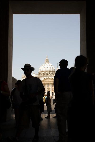 Framed view of Saint Peter basilica, Vatican