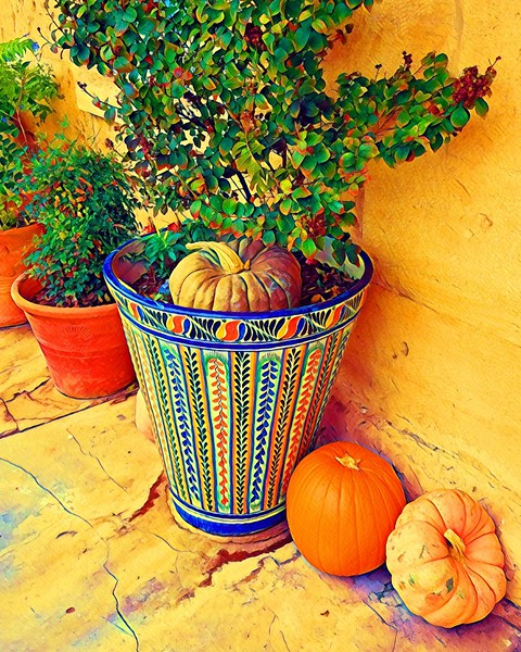 Talavera pot with pumpkins