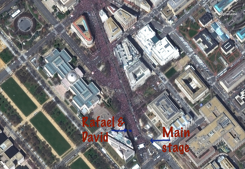 satellite photo of the March for Our Lives ©DigitalGlobe.com View of Pennsylvania Ave, Washington, D.C.