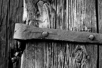 Iron hinge on an old door