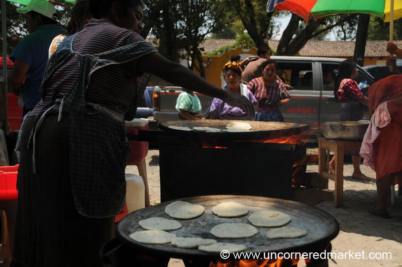 Woman Making Tortillas, Semana Santa - Antigua, Guatemala