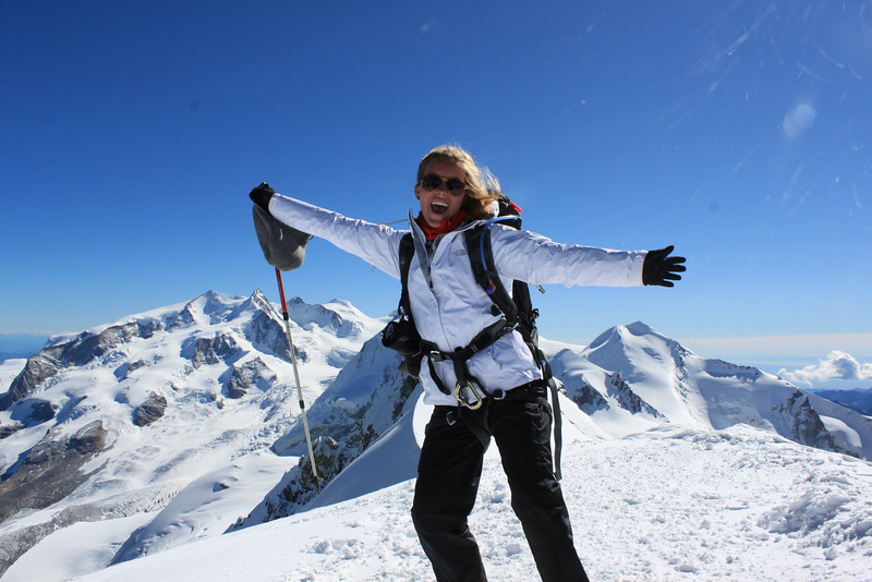 Emily atop Breithorn.  She made it!