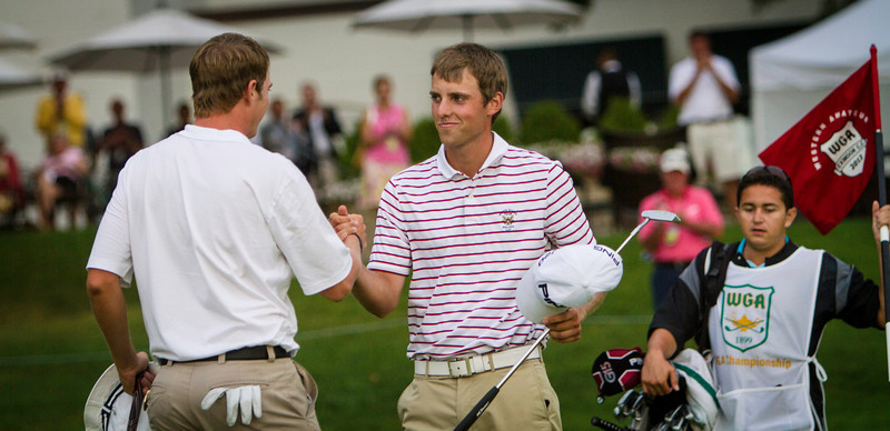 Chris Williams (right) shakes hands with Jordan Russell after Williams edged Russell 1 up to win the 2012 Western Amateur Championship at Exmoor Country Club in Highland Park IL. on Saturday, August 4, 2012. (WGA Photo/Charles Cherney)