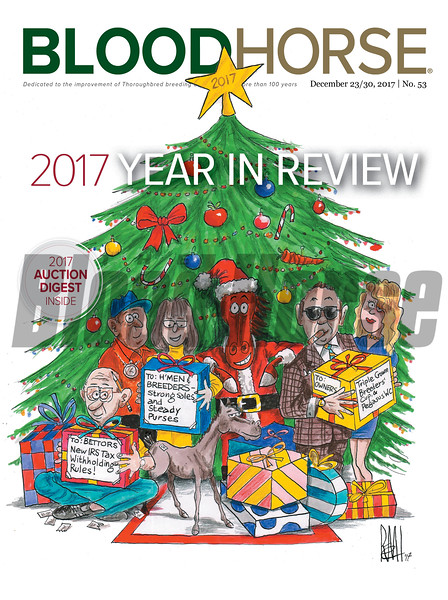 December 23/30, 2017 issue 53 cover of BloodHorse featuring 2017 Year in Review, 2017 Auction Digest.