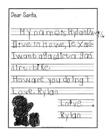 Mrs. Onstott's kindergarten Letters to Santa, 12/5/2018