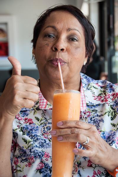 Miss G. drinking fruit juice