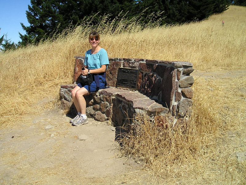 Linda enjoying the view on the Wallace Stegner bench.