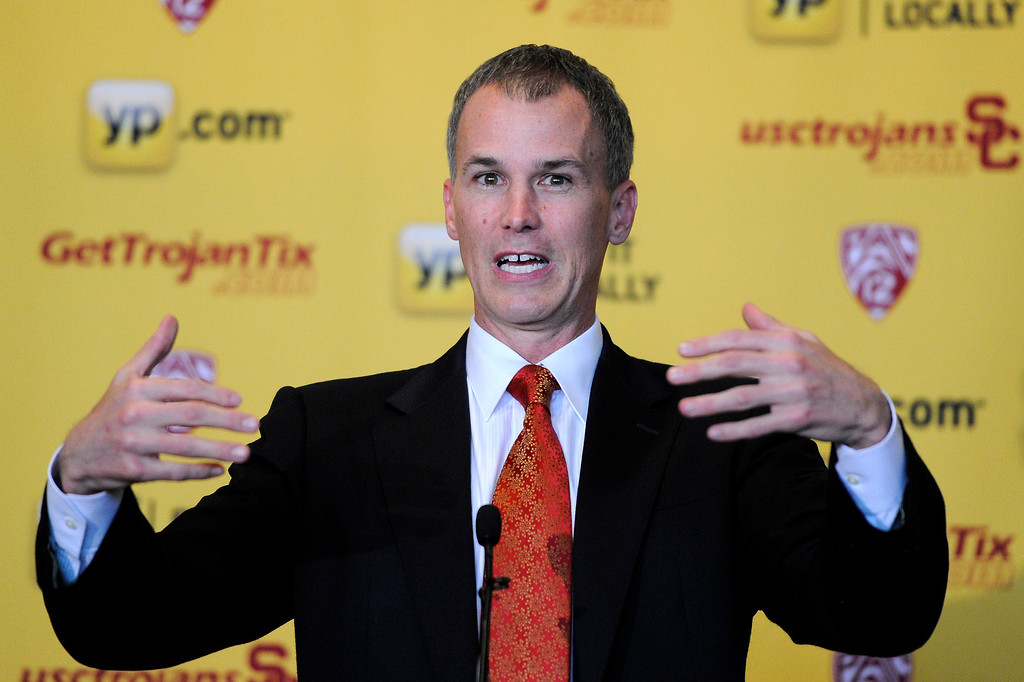 . USC\'s new men�s basketball coach Andy Enfield speaks during his introduction at a press conference at Galen Center, Wednesday, April 3, 2013. (Michael Owen Baker/Staff Photographer)