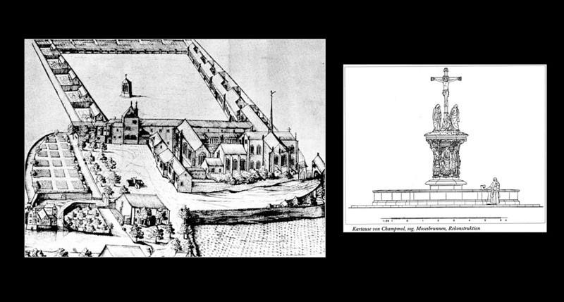 Dijon, Kartause von Champmol. Späte Ansicht und Rekonstruktionsversuch für Brunnen