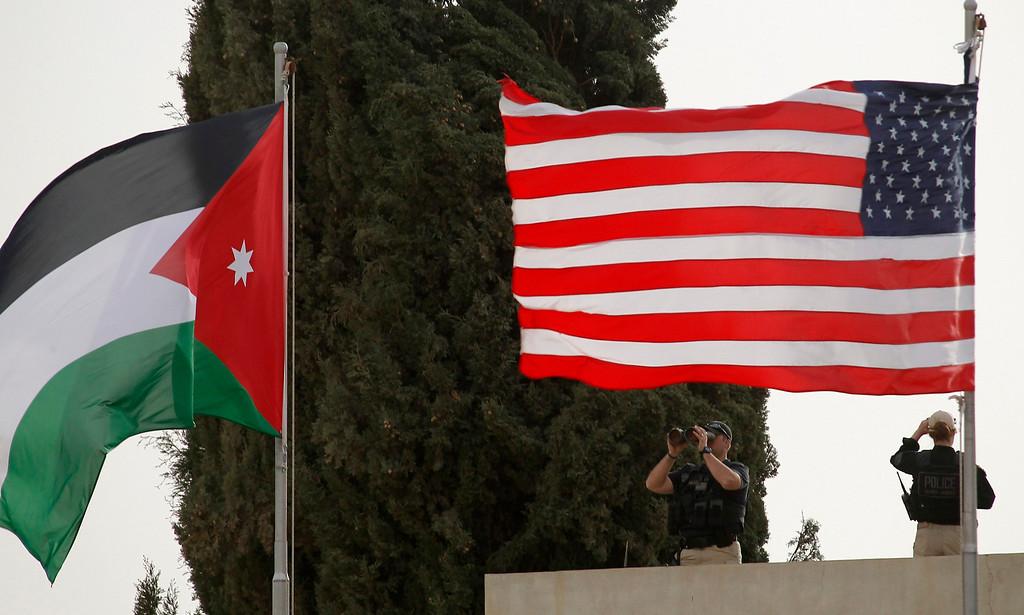 . U.S. security is seen before President Barack Obama arrives at Amman airport March 22, 2013.   REUTERS/Ali Jarekji