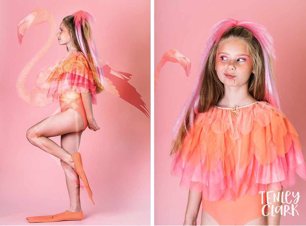 Playful, colorful studio kids editorial with kids mimicking animals and double exposures featured on Babiekins Magazine blog by Tenley Clark Photography. Styling: Jeneffer Jones. HMUA: Amy Lawson. Model: Maddie. Pink flamingo look.