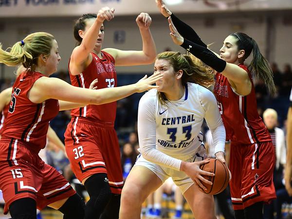 1/19/2019 Mike Orazzi | Staff CCSU's Ashley Berube (33) during Saturday's women's basketball game in New Britain.