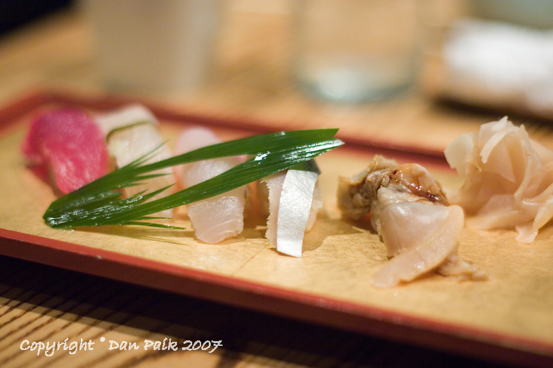 Course #6: Sushi.  Tuna, Halibut, Yellowtail, Mackerel, and scallop.  The tuna, halibut, and yellowtail were excellent.  The mackerel was mediocre (little too dry), and scallop was mediocre.