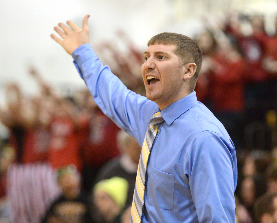 . Duncan Scott/DScott@News-Herald.com Riverside\'s coach Adam May disputes a call in the third quarter of Riverside\'s 49-43 victory over Chardon Friday at the Riverside Community Field House.