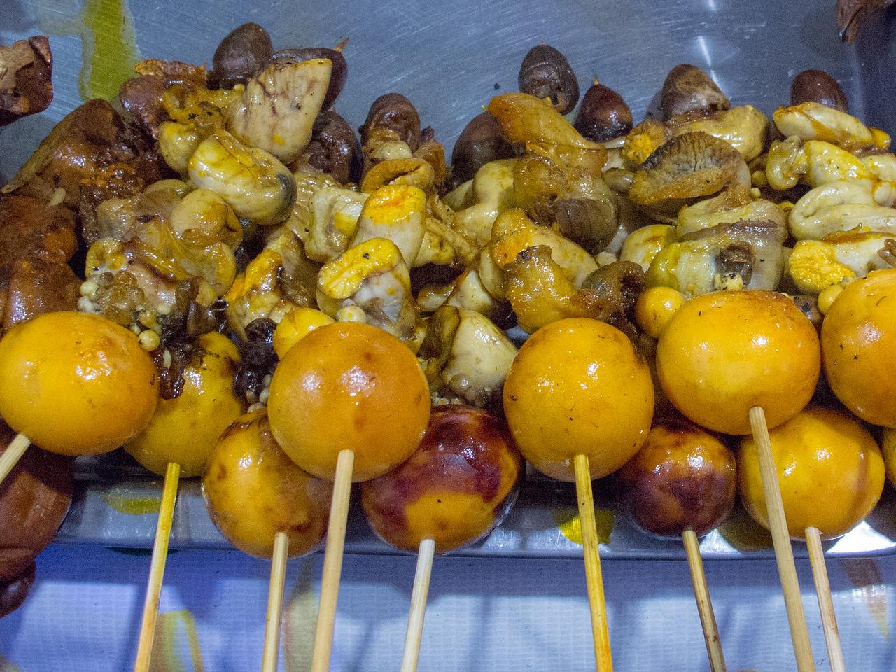 Cambodian Street Food Chicken Offal Satay
