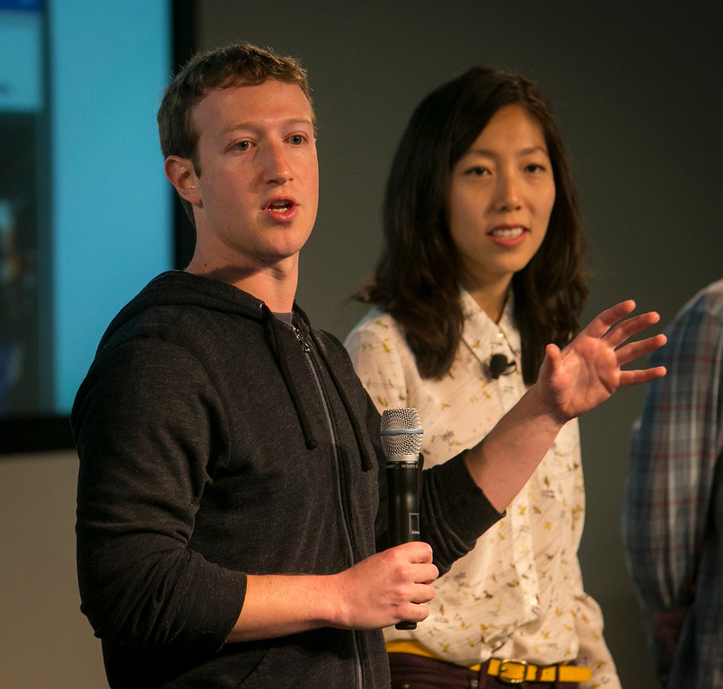 . Facebook CEO Mark Zuckerberg and Julie Zhuo, director of design, answer questions about the re-design of news feed at Facebook in Menlo Park, Calif., on Thursday, March 7, 2013. (John Green/Staff)