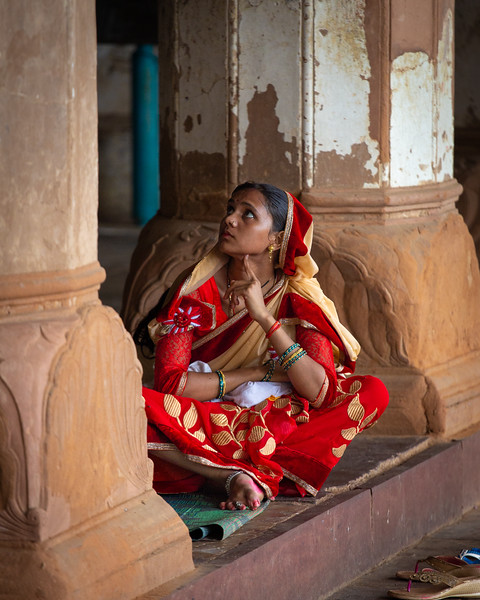 Woman in Red Sari, Orchha, Madhya Pradesh, India