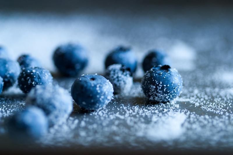 Blueberries in sugar.