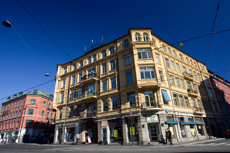 Colorful, polarized image of colored buildings in Majorstuen area, Oslo, Norway.