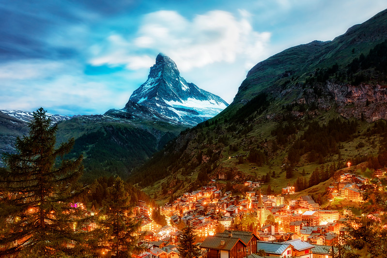 Matterhorn zermat summer night evening lights town switzerland mountain iconic.jpg