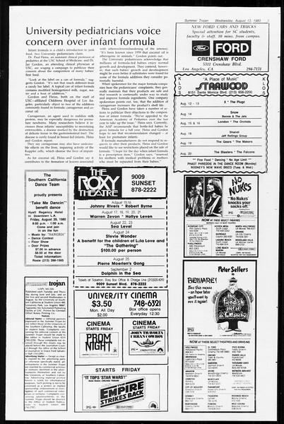 Summer Trojan, Vol. 89, No. 15, August 13, 1980