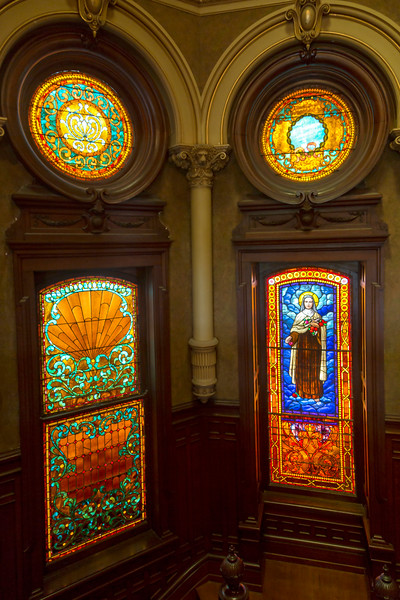 Stained glass in the entry stairwell