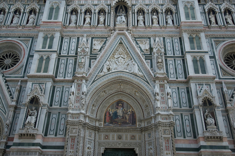 Details of the Florence Cathedral facade in Florence, Italy
