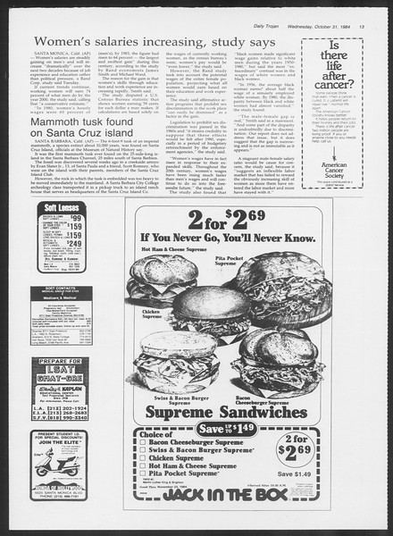 Daily Trojan, Vol. 97, No. 42, October 31, 1984
