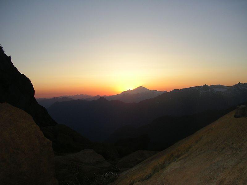 Sunset behind Mt. Baker.