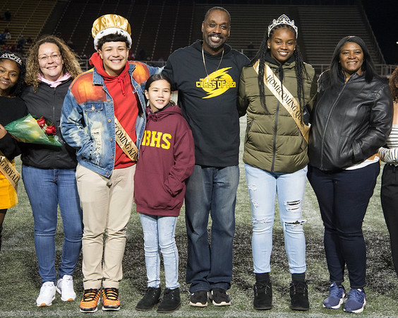11/01/19 Wesley Bunnell | StaffrrNew Britain football was defeated 17-14 by Conard in OT in a game played on Friday night at Veterans Stadium. Senior Homecoming King and Queen with their families.