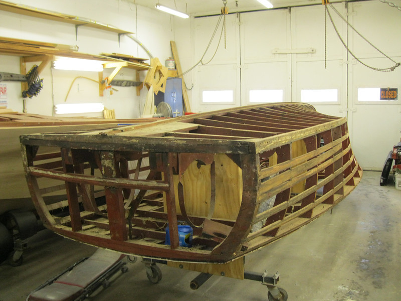 Port rear view of side and transom planks removed.