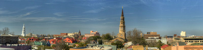 The city skyline featuring the towering church steeples of St. Michael's Episcopal Church (left) and St. Phillip's Episcopal Church (right) in Charleston, SC on Saturday, March 9, 2013. Copyright 2013 Jason Barnette