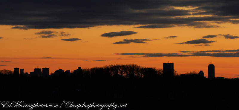 Sunset in Boston: This was taken last night on a hill in Saugus, MA....Sorry I haven't been around for a couple of days, I was layed up with some sort of crazy virus. (But I'm back!)