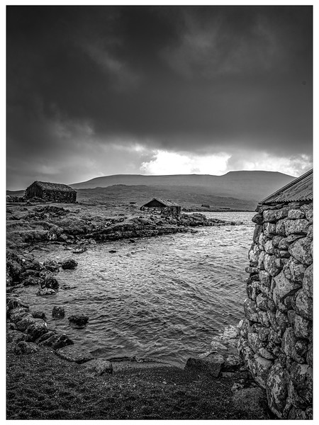 Faroe Shelters 5     Black and White Photography by Wayne Heim