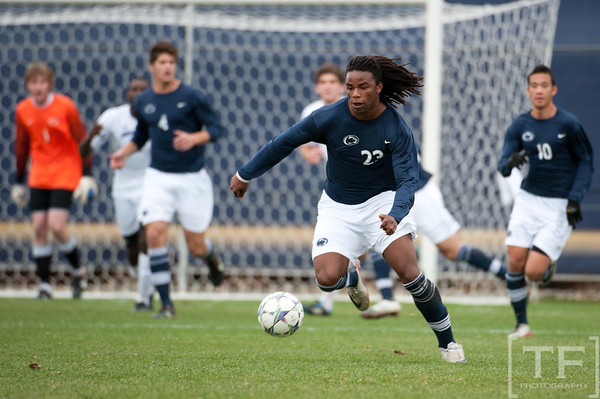 Nov 13, 2011; Ann Arbor, MI, USA; Penn State Nittany Lions forward Jordan Tyler (23) takes the ball up field against the Northwestern Wildcats in the second half at the final game of the 2011 Big Ten Championship at Michigan Soccer Stadium. Wildcats won 2-1. Mandatory Credit: Tim Fuller-US PRESSWIRE